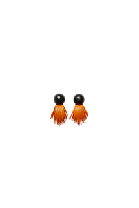 Earrings in orange acacia