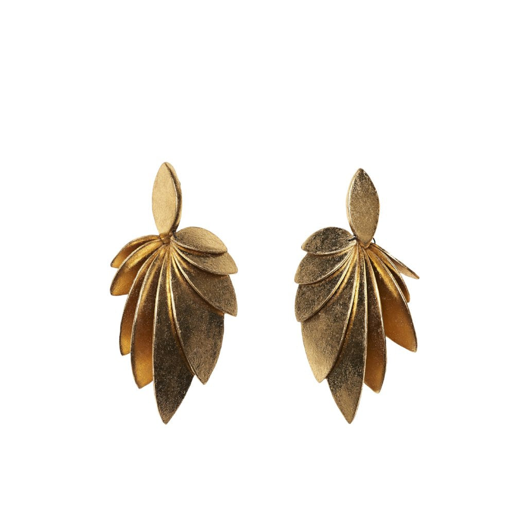 Earrings in polyester and gold foil