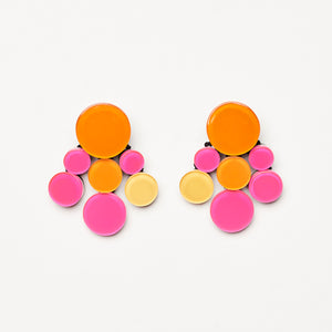 Multicoloured earrings in polyester