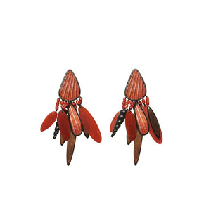Shell, coral, horn, ebony and copper earrings