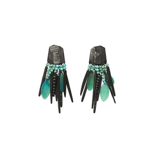 Turquoise, ebony and horn earrings