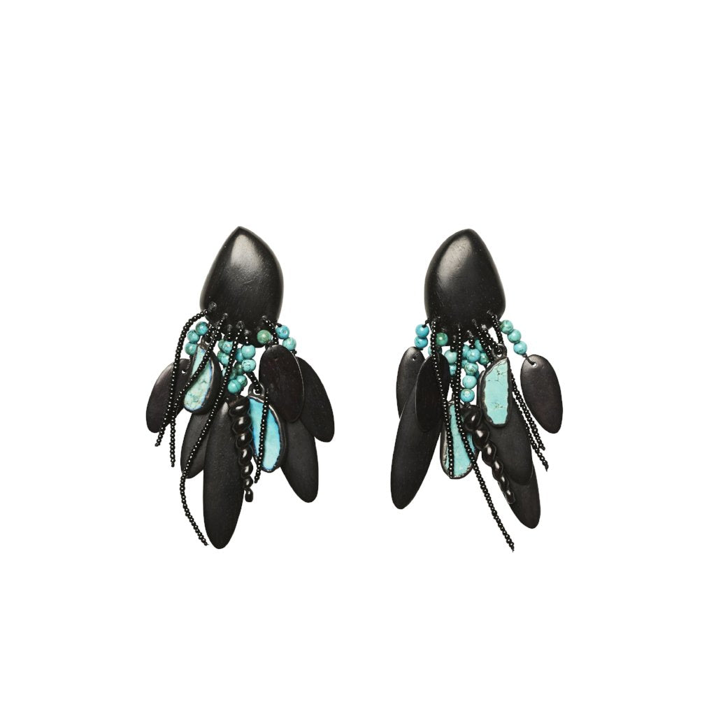 Turquoise, ebony, glass pearls and copper earrings