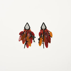 Coral, horn and polyester earrings