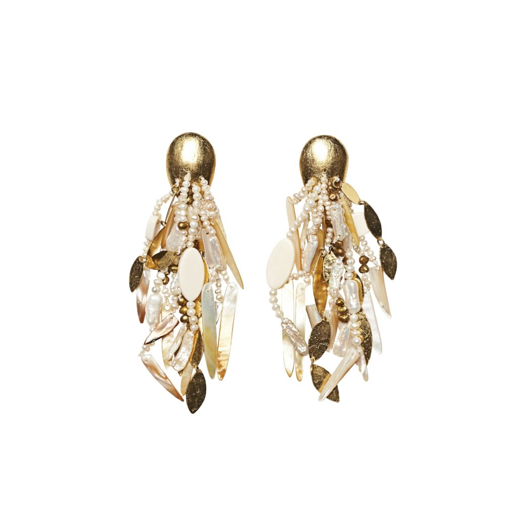 Pearl, mother of pearl, bone, polyester, gold foil and brass earrings