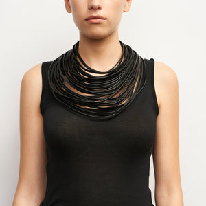 Multistrand necklace in leather