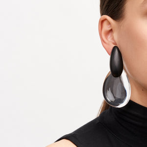 Earring in ebony and clear acrylic