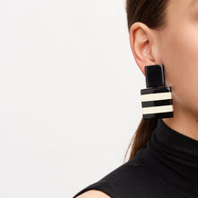 Load image into Gallery viewer, Black and white striped polyester earrings