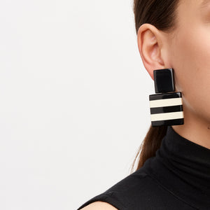 Black and white striped polyester earrings