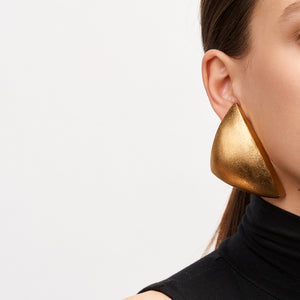 Earrings in acacia and gold foil