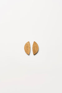 Earclips in acacia and gold foil