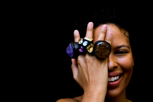 Ring in turmaline quartz, topaz, amethyst, citrine and ebony