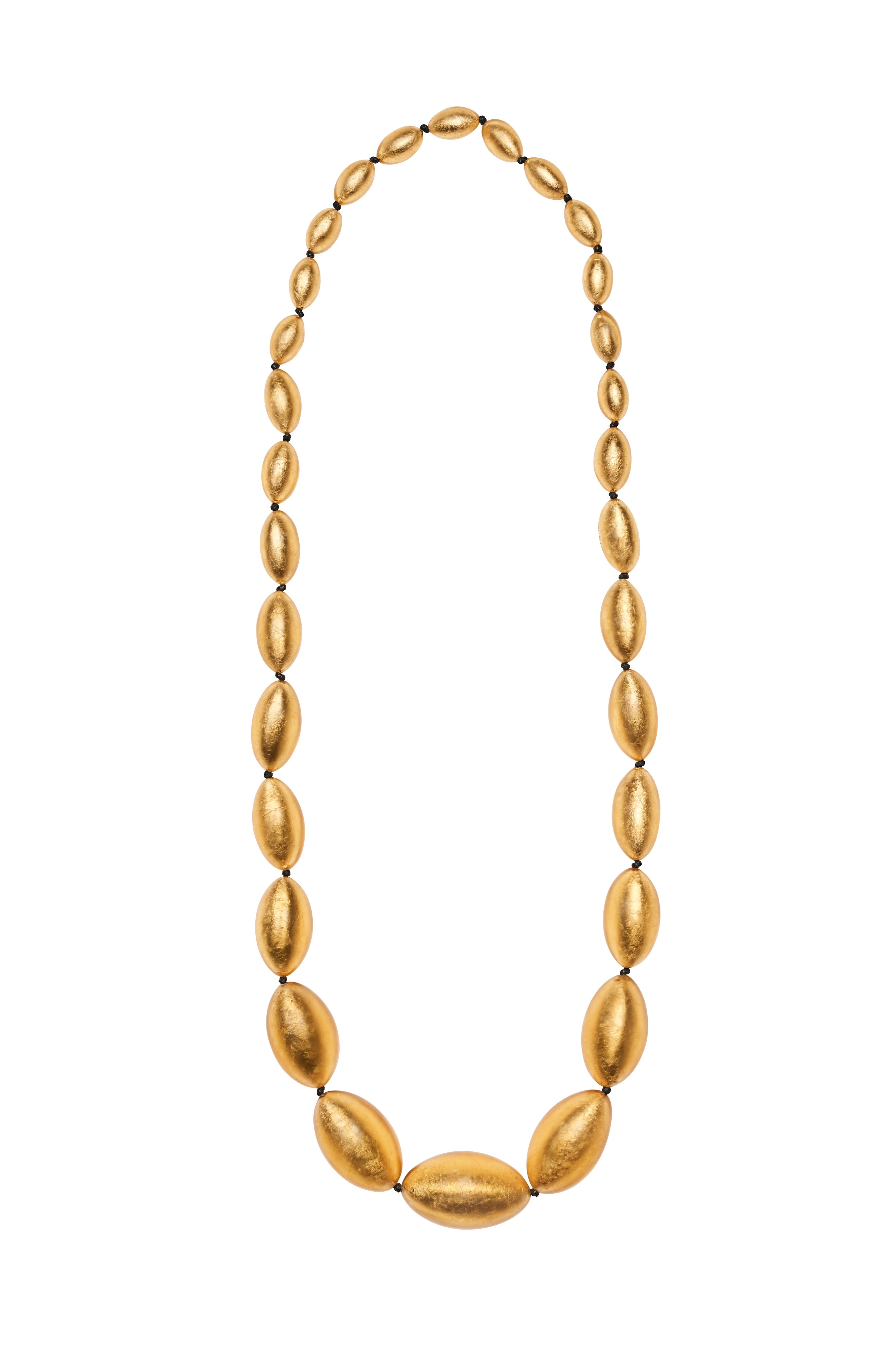 Necklace in polyester and gold leaf