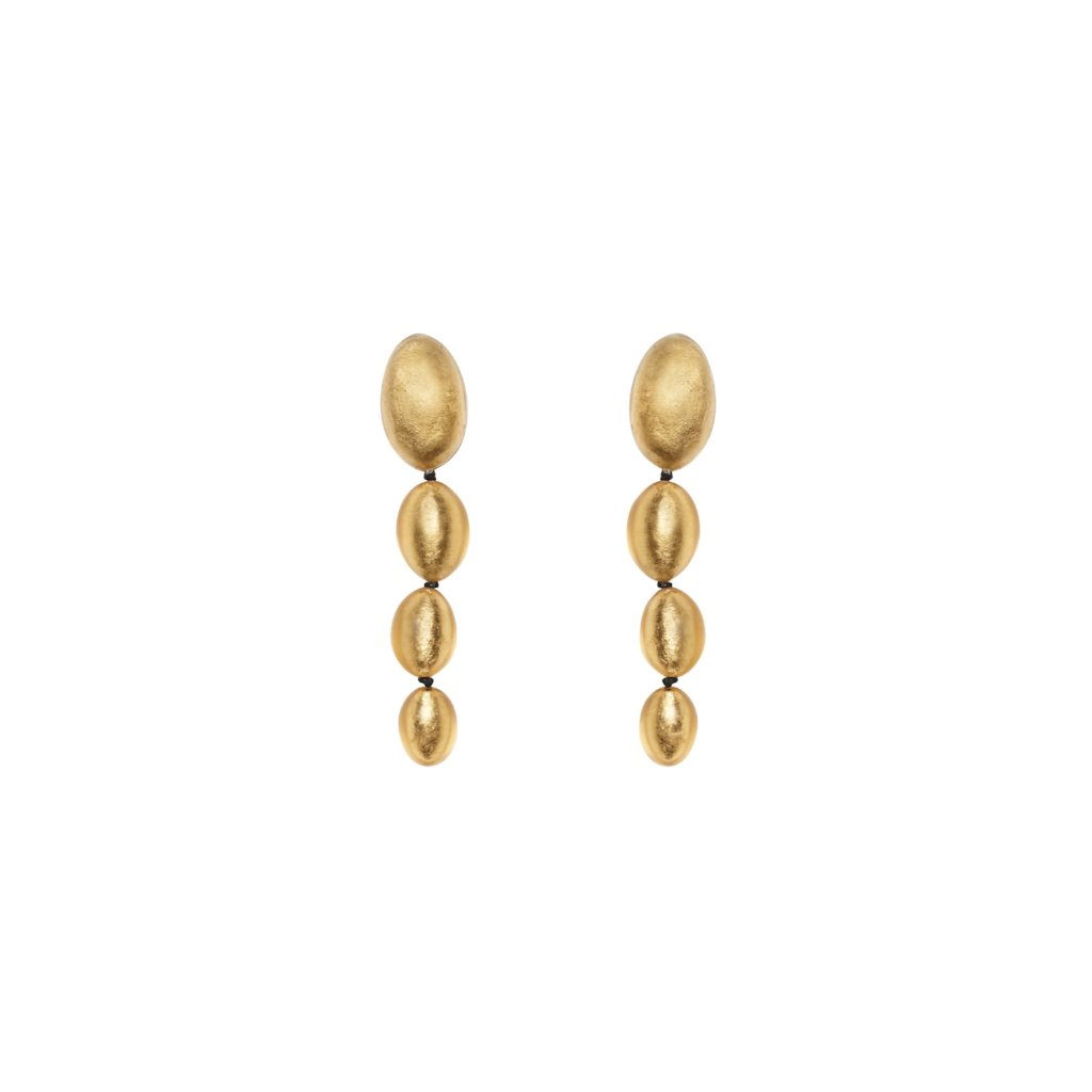 Earrings in polyester and gold leaf