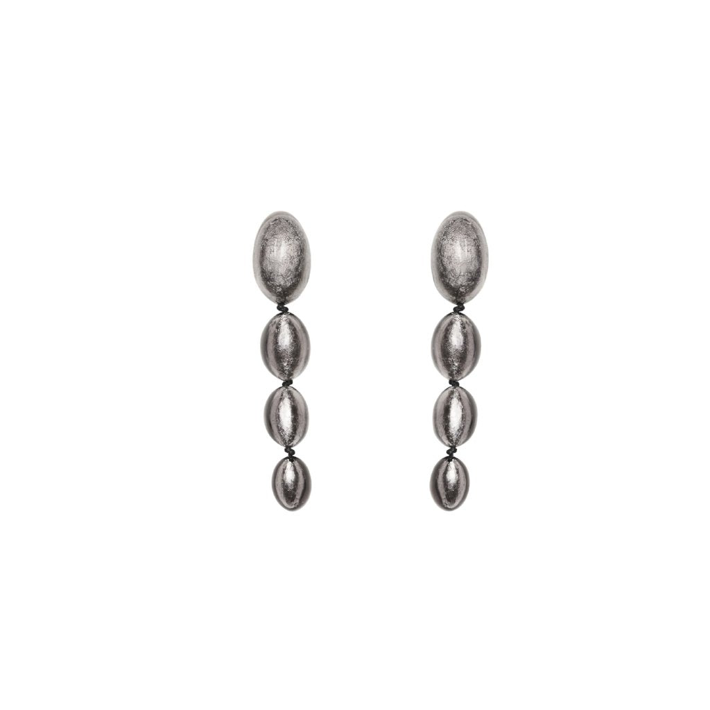 Earrings in polyester and silver leaf