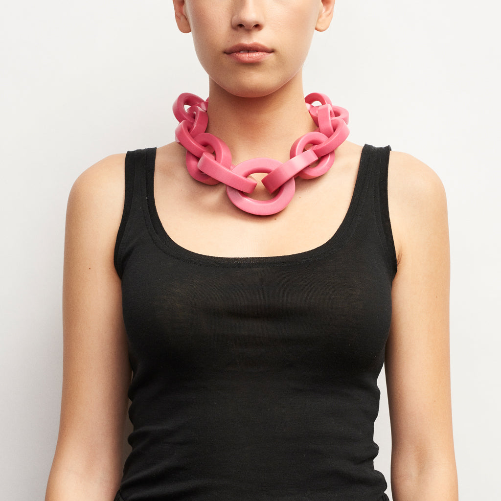 Katie necklace in pink polyester