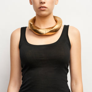Katherine necklace in acacia and gold foil