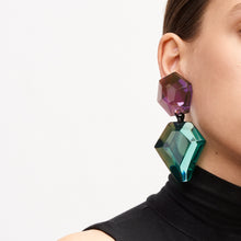 Load image into Gallery viewer, Earring in purple and green polyester