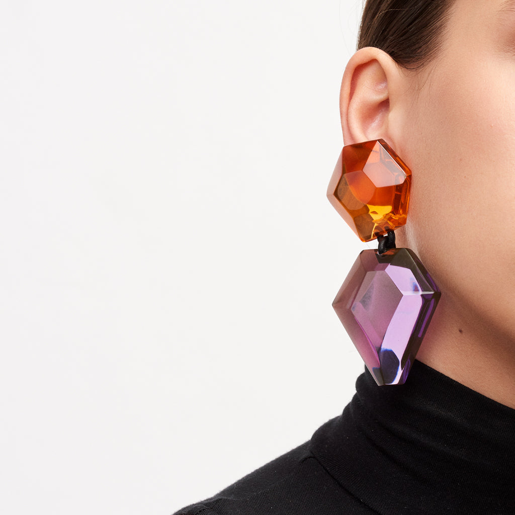 Earring in purple and orange polyester