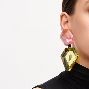 Earring in pink and yellow polyester