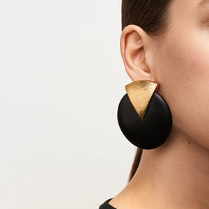 Trento earclips in acacia and goldfoil