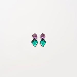 Earring in purple and green polyester
