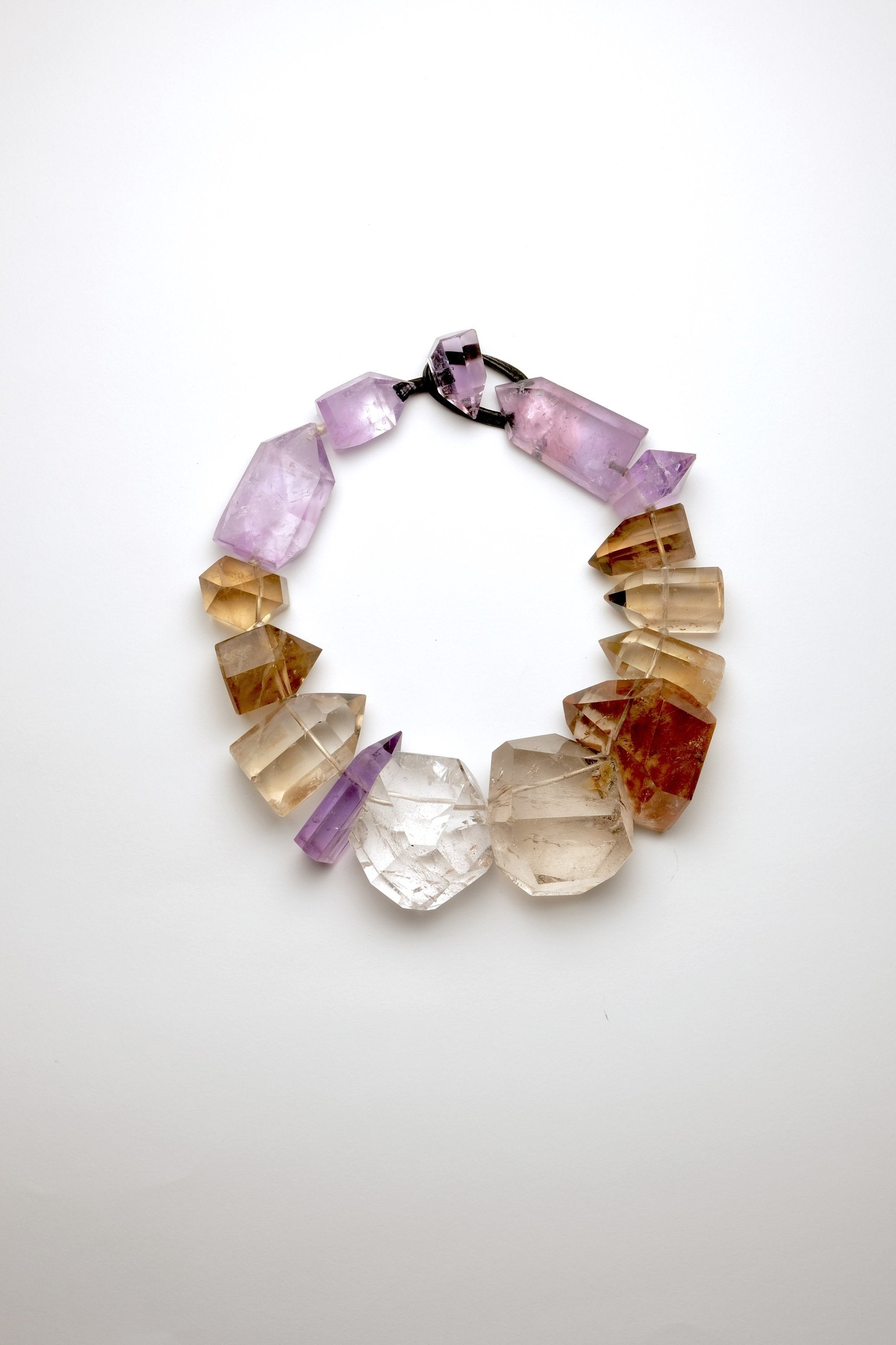 Necklace in mountain crystal, amethyst and citrine
