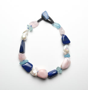 Necklace in lapis lazuli, ande opal, baroque pearls, rosequartz and topaz
