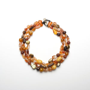 Necklace citrine and amber