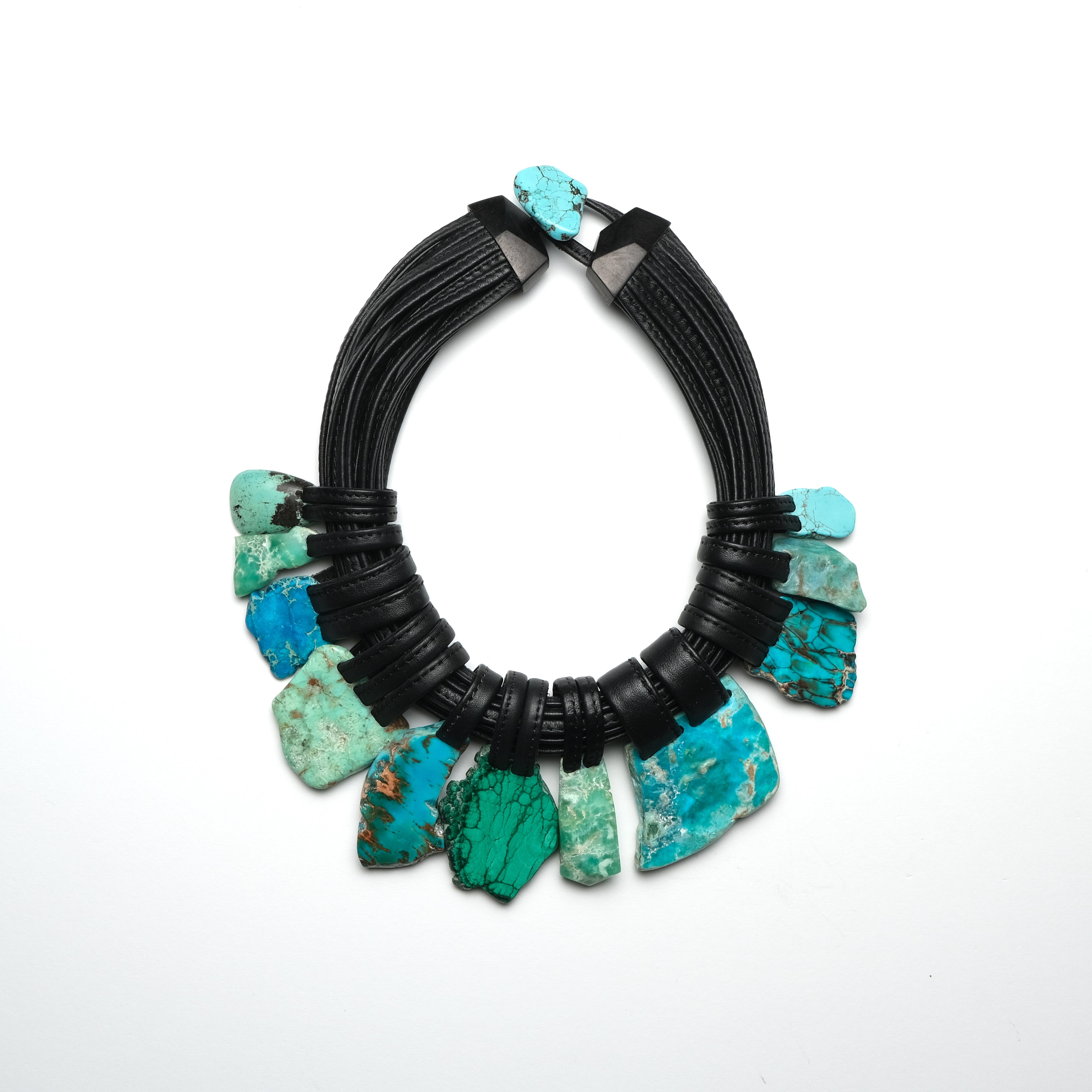 Necklace chrysocolla, turquoise and malakite