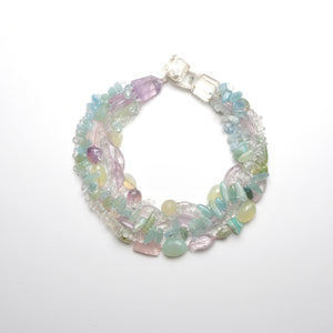 Necklace in aquamarine and amethyst