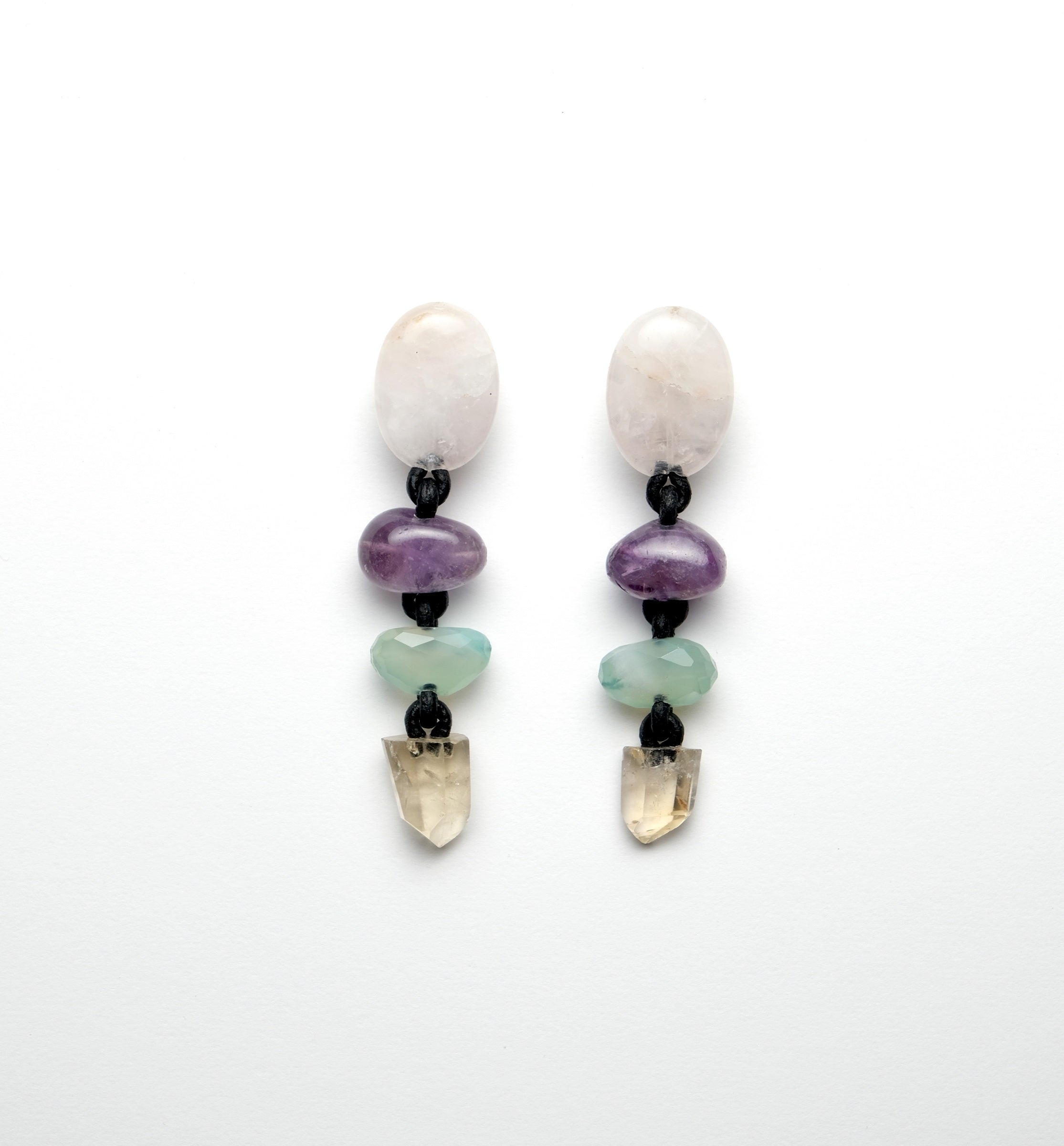 Earrings in rosequartz, amethyst, prehnit and citrine