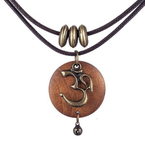 Wooden Om Pendant Choker Necklace - The Buddha Shoppe