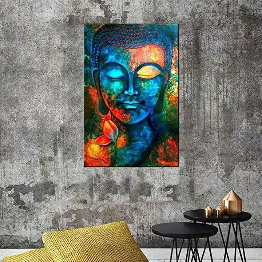 Limited Edition Colorful Lord Buddha Canvas Painting - The Buddha Shoppe