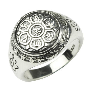 Sterling Silver Lotus Six Words Mantra Ring - The Buddha Shoppe