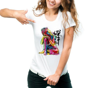 Women's Colorful Buddha Graphic Tee - The Buddha Shoppe