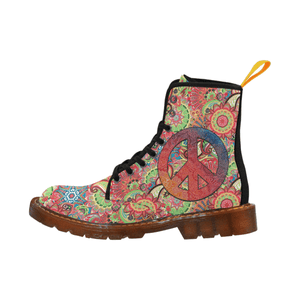 Women's Peace Lace Up Canvas Boots