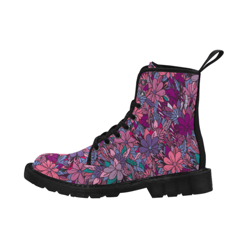Women's Floral Lace Up Canvas Boots
