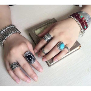 4 Piece Boho Silver Elephant Totem Ring Set