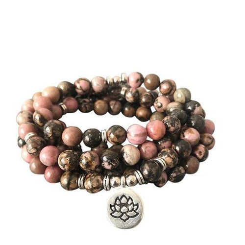 Natural Rhodonite Charm Mala