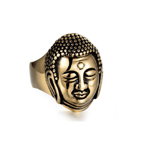 Men's Stainless Steel Buddha Head Ring - The Buddha Shoppe