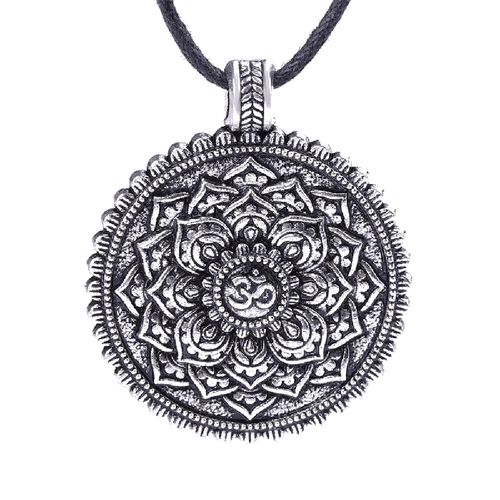 Antique Om Lotus Mandala Pendant Necklace - The Buddha Shoppe
