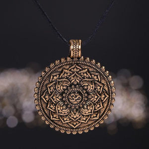 Antique Om Lotus Mandala Pendant Necklace