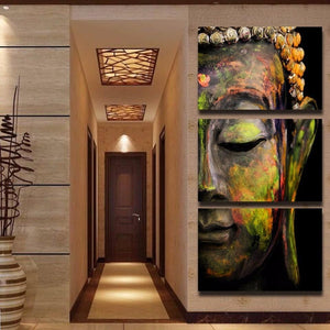 Limited Edition 3 Piece Buddha Abstract Canvas Painting - The Buddha Shoppe