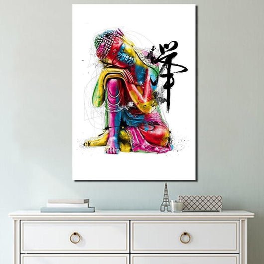 Colorful Resting Buddha Canvas Painting - The Buddha Shoppe