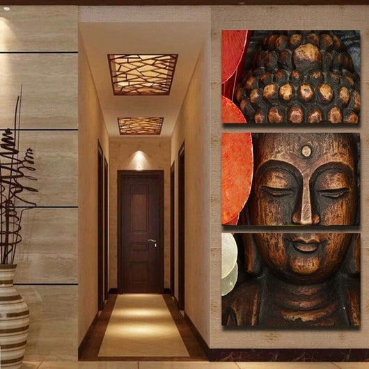 Limited Edition 3 Piece Buddha Wood Canvas Painting - The Buddha Shoppe