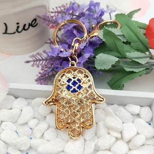 Hamsa Blue Evil Eye Lucky Keychain - The Buddha Shoppe