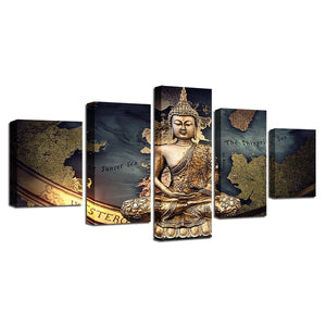Limited Edition 5 Piece Buddha Westeros Map Canvas Painting - The Buddha Shoppe