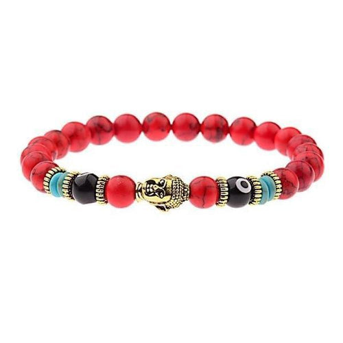 Natural Stone Buddha Evil Eye Bead Bracelet