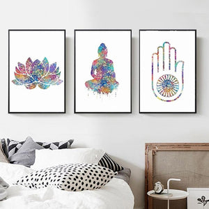 Lotus Buddha Hamsa Canvas Print Trio - The Buddha Shoppe