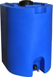 Blue 55 Gallon Water Storage Tank by WaterPrepared - Emergency Water Barrel Container with Spigot for Emergency Disaster Preparedness - Stackable, Space Saving - BPA Free - SHTFSTOCKPILE.COM
